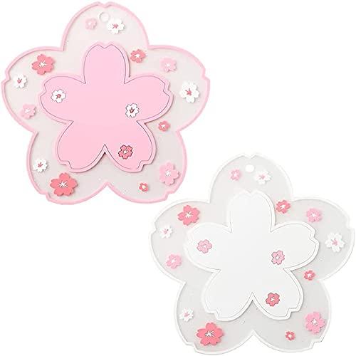 11.5x11.5x0.35cm 2pcs Sakura Cup Coaster, Antideslizante PVC Cherry Blossom Coaster, Tea Vajilla Posavasos, decoración Mantel para Tazas