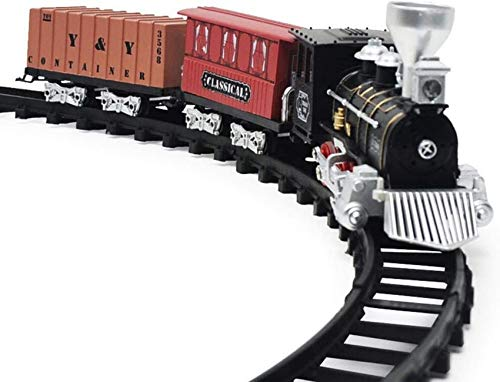 Classic Retro Electric Train Toy with Tracks, Steam Locomotive Engine Model with Lights and Sounds, Battery Powered Railway Train Set, Best Gift for Kids Children