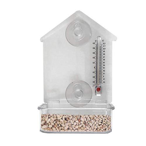 Brownrolly Transparant vogelhuisje, multifunctioneel vogelhuisje met thermometerzuignap