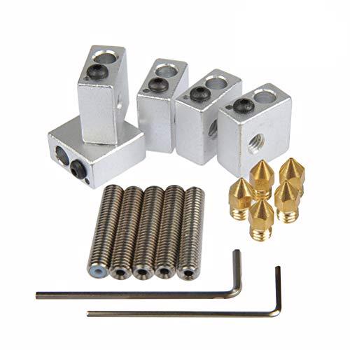 YOTINO 5x boquilla de teflón garganta, 30 mm de largo + 5x boquillas de extrusión de latón, 0,4 mm + 5x bloque de calentador de aluminio para MK7, MK8 impresora MakerBot RepRap 3D