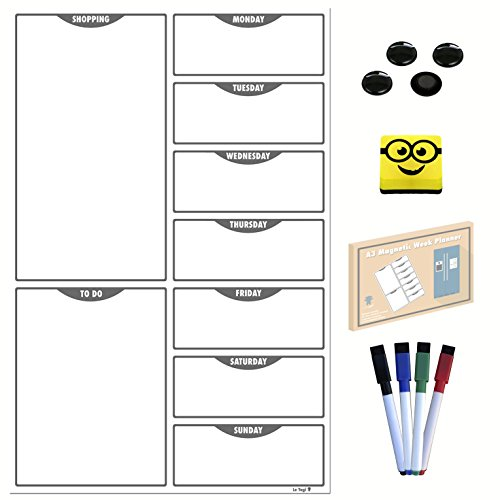 Magnetic Meal Planner | Magnetic Weekly Planner, Daily Meal and Shopping Planner. Dry Erase Diet Organizer Memo Board with Magnetic Eraser, 4 Magnetic Markers, 4 Magnetic Buttons, 100 Video Recipes