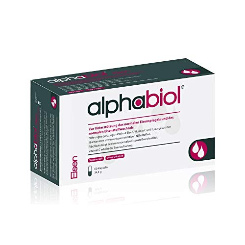 alphabiol Eisen: Nahrungsergänzungsmittel mit Eisen, Vitamin C und E, ausgesuchten B-Vitaminen sowie weiteren wichtigen Nährstoffen. Ohne: Zucker, Gelatine