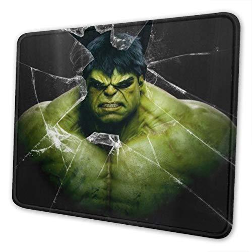 Alfombrilla de ratón rectangular Hulk Avenger Superhéroe de goma antideslizante para juegos, Negro , 7 x 8.6 in