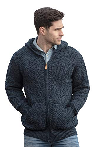 Aran Crafts Men's Irish Cable Knitted Wool Zip Hooded Cardigan (HD4821-SM-SHER)