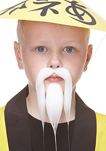 Mustaches Selbstklebende Kleiner Shaolin Fälschen Bart und Fälschen Schnurrbart für Kinder Weiß Farbe