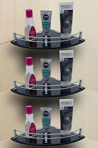 U-S-F BATH ACCESSORIES Glass Corner Shelf Bathroom Shelf and Kitchen Shelf - 9 X 9 Inches -Black - (Transparent) Pack of 3