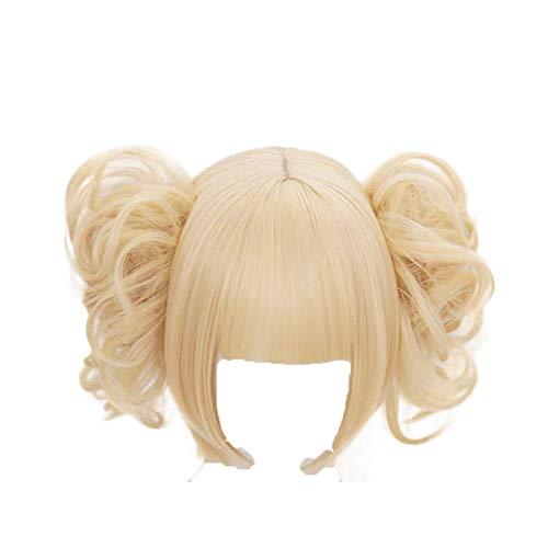 My Hero Academia Himiko Toga Peluca de anime para cosplay, rubio con flequillo, pelo sintético con gorro de peluca gratis para mujeres y niñas