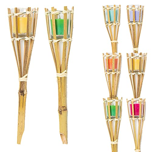 Widdle Gifts Ltd Set of 2 Citronella Garden Candles on Bamboo Stick Random Colours 4779