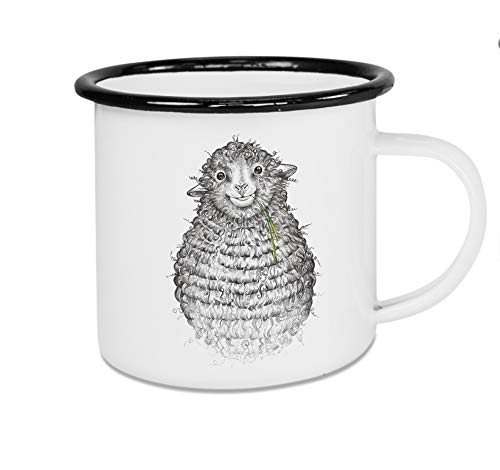 LIGARTI Tiermanufaktur - Taza esmaltada, diseño de oveja Wollfried (300 ml)