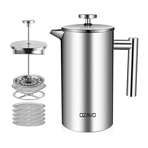 OZAVO Cafetière à Piston 1L INOX Isotherme French Press 3 en 1 Acier Français Cafe Filtre à Thé Manual avec 5 Filtres Remplacement