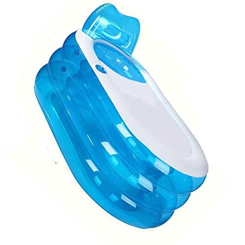 XelparucOutdoor-Badewanne, faltbar, aufblasbar, 145 cm, für Erwachsene, für Kinder, Baby, alte Menschen, Dusche, aufblasbares Pool, Badezimmer, Zuhause, vollständig aufgeblasen, 144,8 x 31x66 cm, Blau