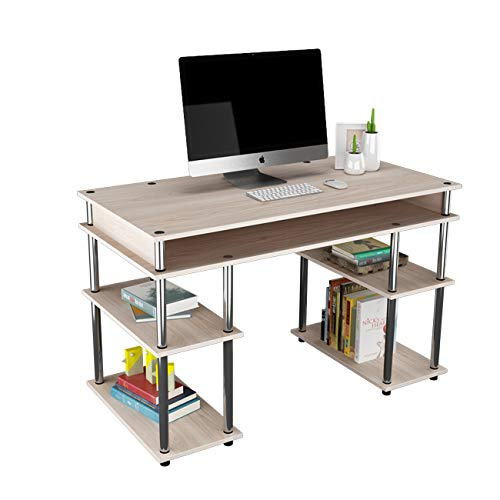 DlandHome Escritorio de Oficina Simple con Estantes Mesa de computadora Estudio 120 * 60 CM Mesa de Escritura Fácil Montaje para Hogar/Oficina Roble