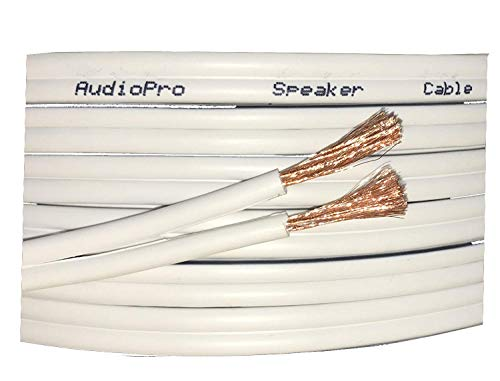 AudioPro Speaker Cable Wire 13 AWG (2 x 234 Strands) Select 25m or 50m Reel Colour White Clear Transparent HiFi Home Audio Surround Sound etc (25m Reel, White)