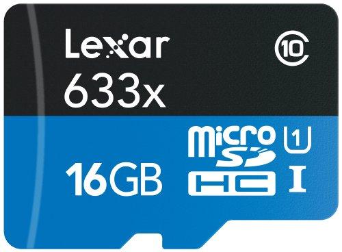 Lexar 633x 16GB MicroSDHC UHS-I Klasse 10 Speicherkarte - Speicherkarten (MicroSDHC, UHS-I, Klasse 10, Schwarz, Blau, SD)