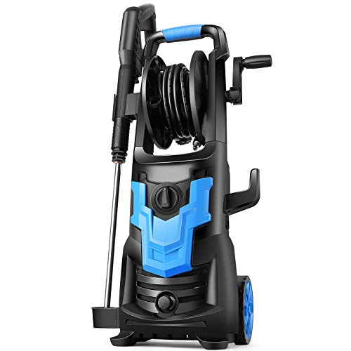 WHOLESUN 3600PSI Electric Pressure Washer 1900W High Power Washer 2.6 GPM Powerful Machine with Hose Reel, Self Assembled, Rotatable Iron Spray Lance for Patio, Garden, and Car Cleaning(Blue)