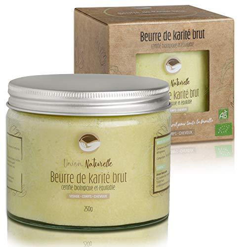 Beurre de Karité Brut BIO - Certifié biologique et équitable - 100% pur, non raffiné - Soin hydratant naturel visage corps cheveux - 250g