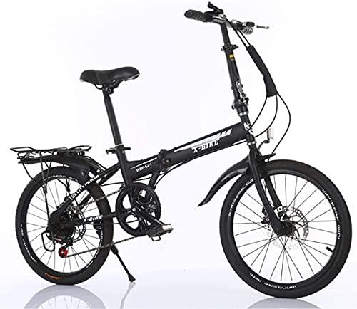 NoMI Mini Faltrad Fahrrad 20 Zoll Klapprad 7 Gang-Schaltung Folding Bike Faltfahrrad-Herren-Damen Student Hmädchen Büroangestellter Lightweight,Schwarz