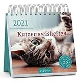 Katzenweisheiten - Kalender 2021 - arsEdition-Verlag - Wochenkalender - Postkartenkalender mit niedlichen Kätzchen und Zitaten - 16,8 cm x 16,8 cm