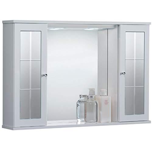 Specchiera mobile contenitore da bagno PLUTONE bianco lucido con 2 ante e luce LED (Con Specchio)