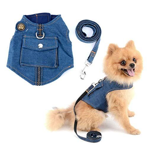 XIAO Correa para El Pecho del Perro con Artículos para Mascotas Ropa para Perros Vestido De Novia Lavado Moda Cómodo para Mascotas Denim Abrigo Denim Cofre,A,S