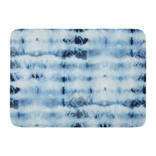 SUPERQIAO Fußmatten Bad Teppiche Outdoor/Indoor Türmatte Tie Dye Muster von Indigo Farbe auf weißer Seide Handmalerei Stoffe Nodular Batik Shibori Färben Badezimmer Dekor Teppich Badematte