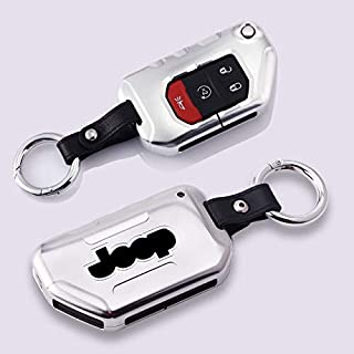 Key Case for Car - Fashion Aluminum alloy Leather Car Key Case Cover For Wrangler New JL 2018 For JL Remote Key Auto Inter...
