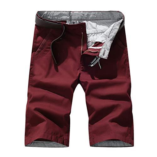 Große Größe Gerade Shorts für Herren/Skxinn Männer Sommer Kurze Hose Übung Overalls Freizeithosen Casual Sport Slim Fit Hosen Regular Fit S-7XL Ausverkauf(Rot,3XL)