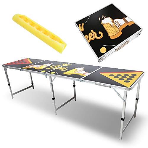 Hengda Beer Pong Tisch Audio Table Design Klappbarer Leichter Bier Pong Table mit 6 gratis Bier-Pong Bällen für Sommer,Festivals,Parties & Turniere