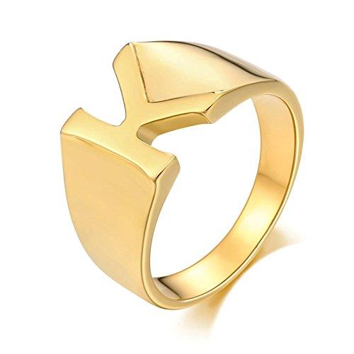 Gualiy Anillo Hombre Matrimonio 14MMAnillo de Letra kpara Hombre, niño, Padre, Esposo, Oro, Tamaño 17