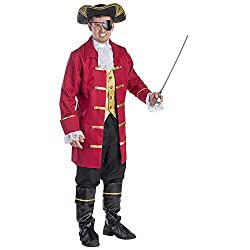 Product comes complete With; Jacket with attached vest, Pants, Boot Covers, Lace Jabot and Eye Patch Red long jacket has gold trimming, bronze buttons and lace cuffs, Available in size Small (Waist: 91-99, Height: 160-165 cm, Inseam: 69-74 cm) Made w...