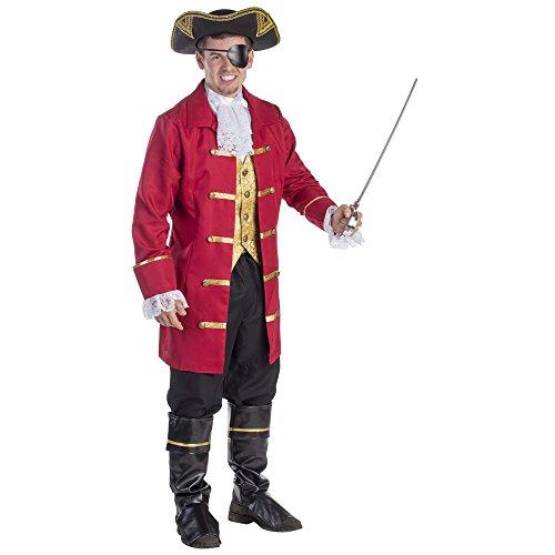 Dress Up America 796-S Elite Herren Piratenkapitän-Kostüm, Mehrfarbig, Größe Klein (Taille: 91-99, Höhe: 160-165 cm, Schrittnaht: 69-74 cm)