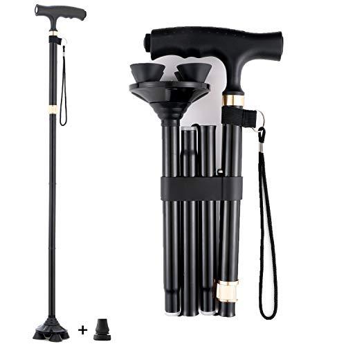 Wsobue Bastón plegable para hombre y mujer, plegable para la movilidad con luz LED ajustable (actualizado en negro) ✅