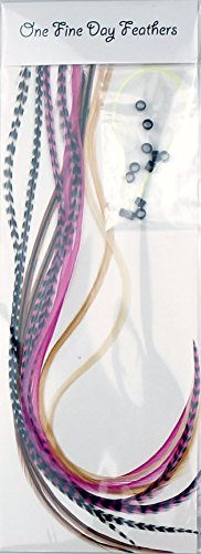 Feather Hair Extensions 10Stück + Ringe/Schlaufe