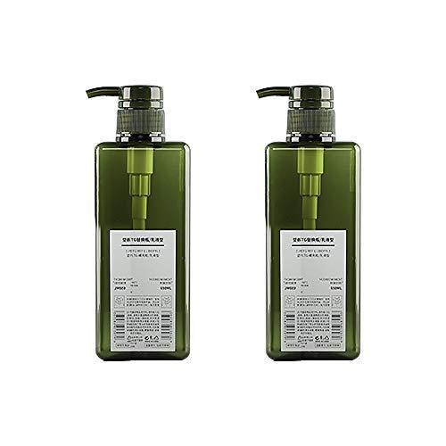 Bocotoer Juego de 2 recipientes de Viaje Recargables a Prueba de Fugas, 650 ml, Botella de Viaje vacía, para champú Verde