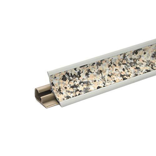 DQ-PP 2,5m WINKELLEISTE | Granit | 23 x 23mm | PVC | GRATIS Schrauben | Küchenleiste Arbeitsplatte Abschlussleiste Leiste Küche Küchenabschlussleiste Wandabschlussleiste Tischplattenleiste