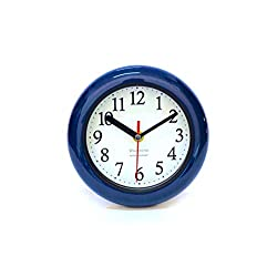Perfect Shell Blue Ocean Water Resistant Clock, Quartz Movement, Simple Design, 6.5 in Diameter, ABS Glass Front, Flexible Options to Hang or to Stand. Withstand Water Vapor and Moisture.