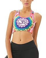 Women's Sports Bras High Impact Workout Athletics Dry U-Neck for Yoga Bra (Medium, Multicolor)