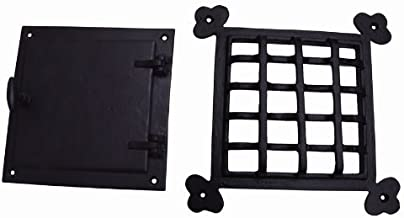 A29 Hardware 8 1/2 x 8 1/2 Inch Iron Speakeasy Door Grill/Grille with Viewing Door, Black Powder Coat Finish, Large Size