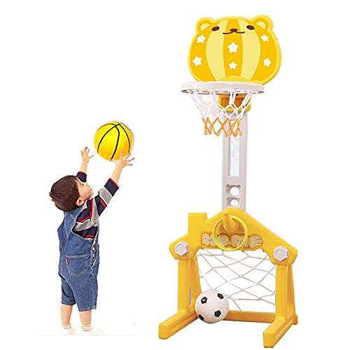 Basketball Hoop Canastas de Baloncesto para Casa, 3 en 1 Canasta Baloncesto Infantil, Juegos de Pelota al Aire Libre con Portería de Fútbol, Lanzamiento de Anillos (Color : Yellow)