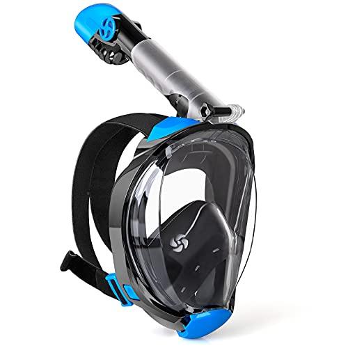 WEWILL Máscara de Buceo,Máscara de Snorkel con Vista Panorámica de 180 ° Diseño de Cara Completa y Compatible con Cámaras Deportivas, Diseño Plegable para Adultos y Niños(X XL)