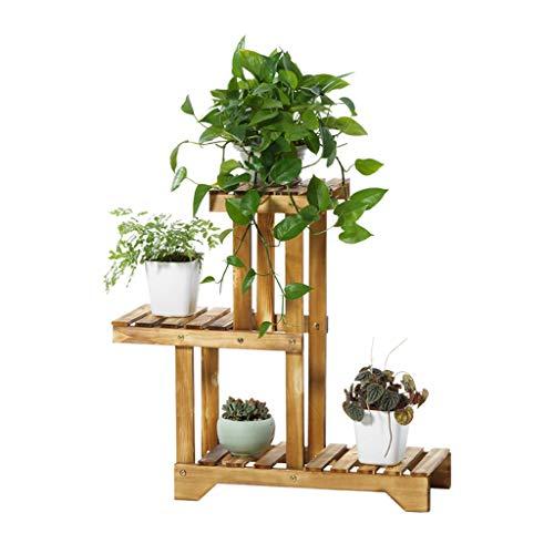 Étagères d'angle Supports de pots Salon de fleurs en bois massif, présentoir de fleurs multicouches à plusieurs viandes, présentoir de radis vert au sol pour intérieur, présentoir de décoration de bal