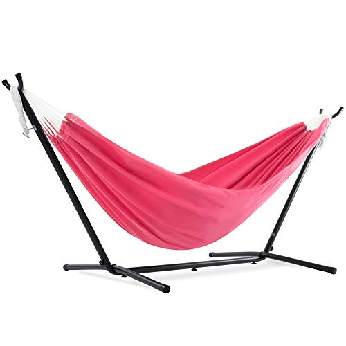 Vivere double polyester hammock with 9ft space saving steel stand (450 lb capacity - premium carry bag included) (hot pink)