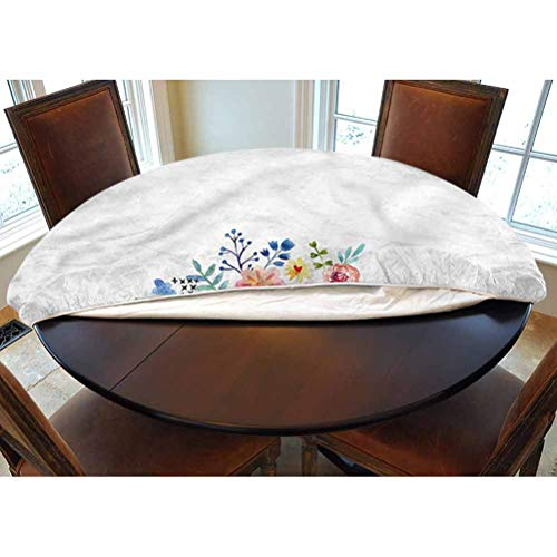 LCGGDB Flowers Elastic Edged Polyester Fitted Tablecolth -Wheelbarrow Flowers- XL Large Round Fitted Table Cover - Fits Tables up to 63