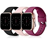 Wepro 3 Pack Correas Compatible con Apple Watch Correa 38mm 42mm 40mm 44mm, Correa de Silicona Suave de Repuesto Compatible con iWatch Series 6, 5 4 3 2 1, SE, 42mm/44mm-S/M Negro/Rosa/Fucsia