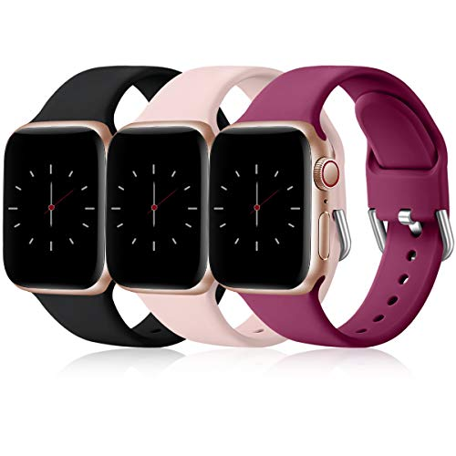 Wepro 3 Pack Correas Compatible con Apple Watch Correa 38mm 42mm 40mm 44mm, Correa de Silicona Suave de Repuesto Compatible con iWatch Series 6, 5 4 3 2 1, SE, 38mm/40mm-S/M Negro/Rosa/Fucsia
