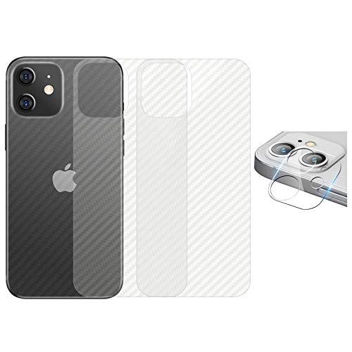 qichenlu 3X Rückseite Folie + 2X Kamera Schutzglas kompatibel mit iPhone 12 Mini, Carbon Look Matt Weich Back Film kompatibel mit iPhone 12 Mini,Klar 6D Linse Glas Kratzfest Kamera Hinten Schutz