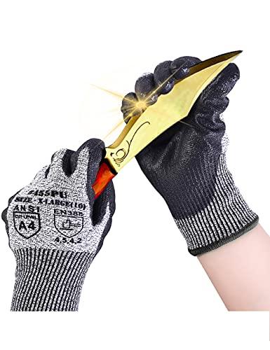Donfri Guantes anticorte, protección de alto rendimiento, grado 5, guantes de trabajo, resistentes a los cortes, cómoda pantalla táctil con revestimiento de poliuretano (1, M)