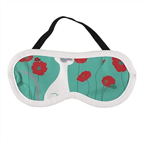 Augenmaske für Männer und Frauen, Art Katze Blume Pflanze Pflanze Stiel Mohnblumen-Familienschwanz, die beste Schlafmaske für Reisen, Nickerchen, geben Ihnen die beste Schlafumgebung