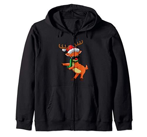 Christmas Reindeer Floss Like A Boss Boys Kids Xmas Flossing Sudadera con Capucha