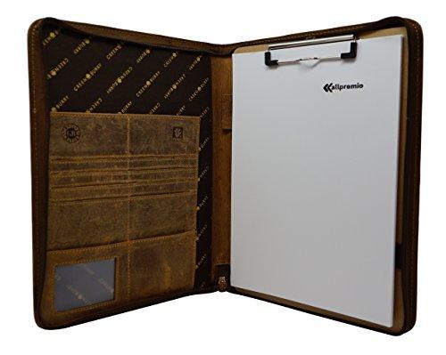 GREENBURRY Vintage Manager Schreibmappe echt Leder braun – hochwertige Konferenzmappe DIN A4 mit Reißverschluss verschließbar – inkl. Notizblock und Klemme – viele Fächer für Heft, Karten, Stift